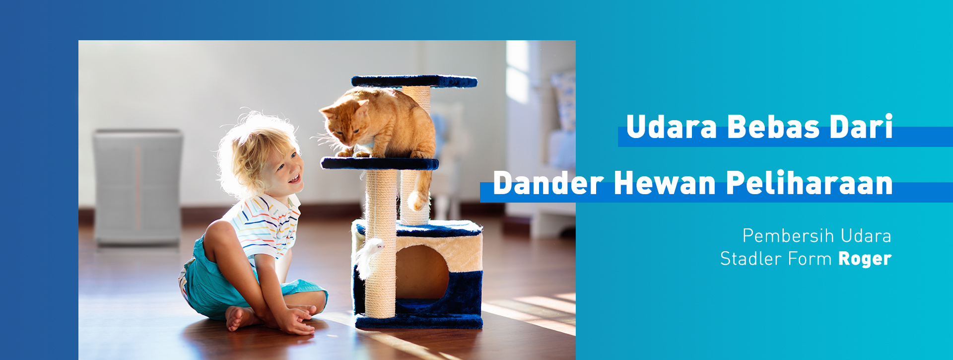 Child playing with cat pet near air purifier Roger from Stadler Form