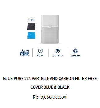 Blueair Air Purifier Blue Pure 221 Particle Activated Carbon