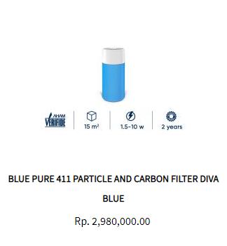 Blueair Air Purifier Blue Pure 411 Particle Activated Carbon
