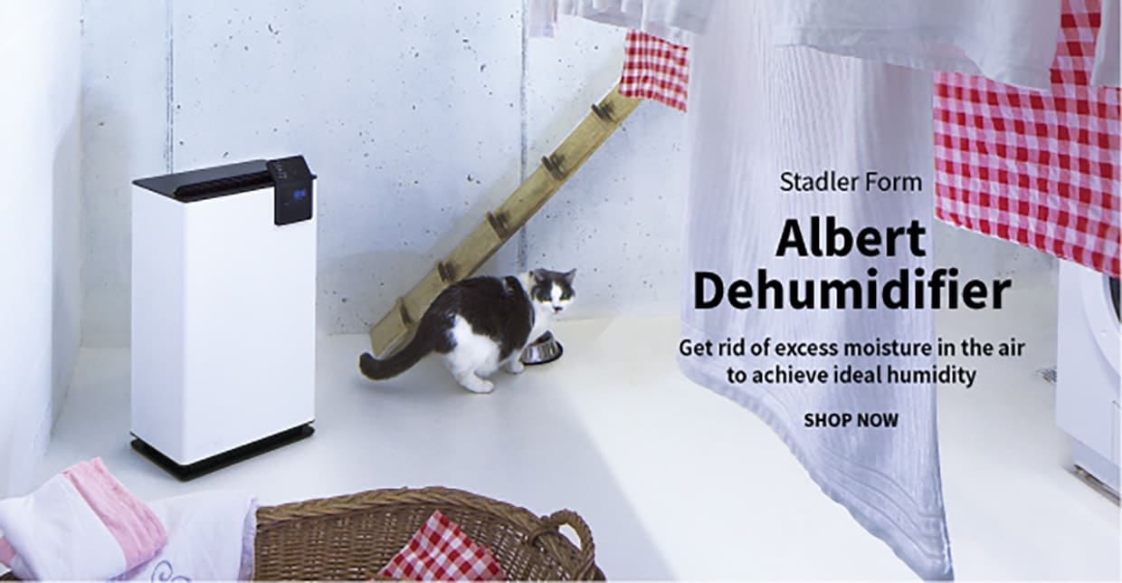cat eating near a Stadler Form Albert dehumidifier inside a laundry room