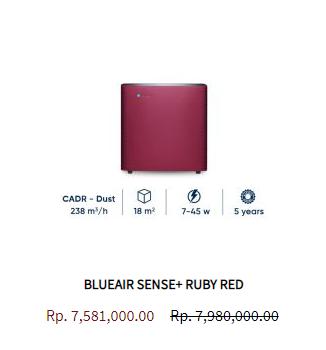 Blueair Air Purifier Sense Ruby Red