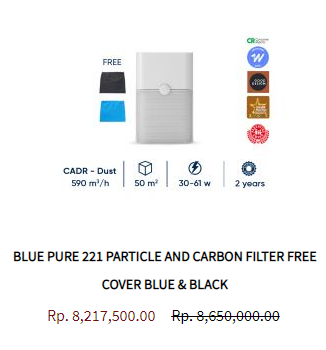 Blueair Air Purifier Blue Pure 221 Particle Activated Carbon