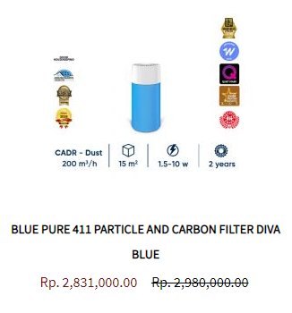 Blueair Air Purifier Blue Pure 411 Particle Activated Carbon