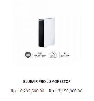 Blueair Air Purifier Pro L Smokestop