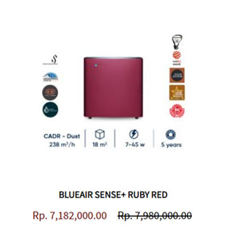 Blueair Air Purifier Sense Ruby Red